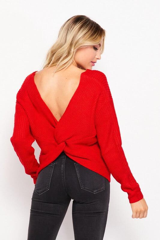 Sweater con nudo sexy en parte posterior